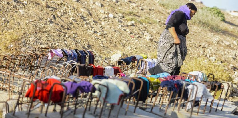 Un refuge de femmes yézidies en Irak, à Dahuk au Kurdistan irakien, le 23 août 2014 (SIPANY/SIPA).