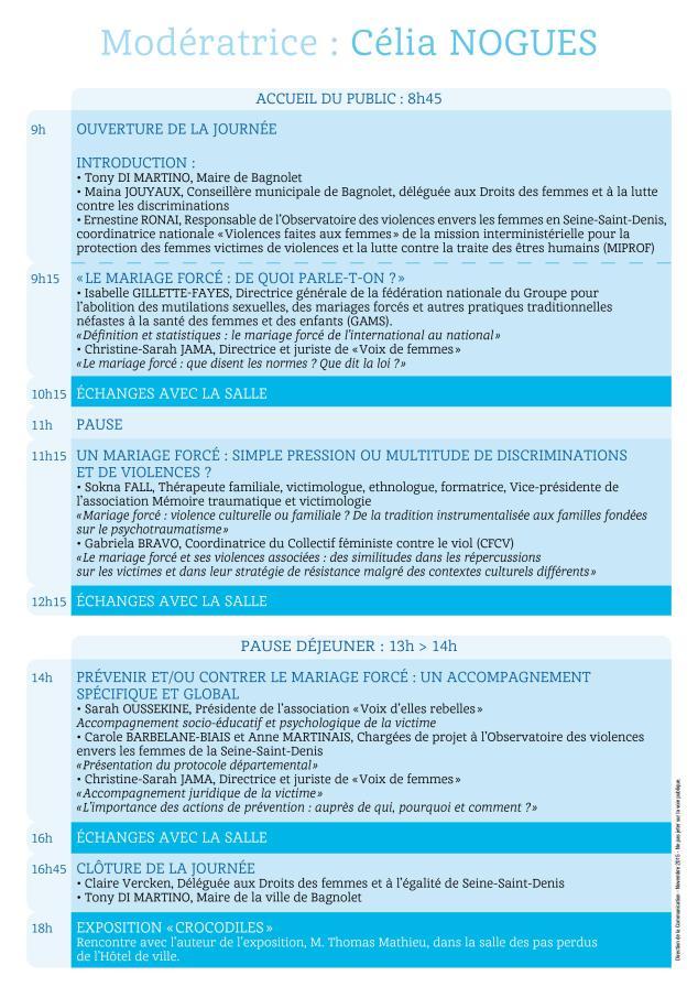 Programme 20 novembre 2015 Bagnolet Verso